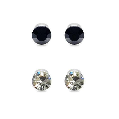 Chandrika Pearls Gems & Jewellers Magnetic black & white colour Set of two stud Earring for Men and boys