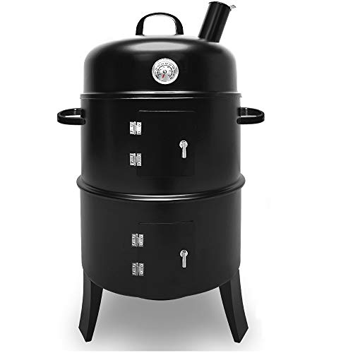 The Deuba BBQ Charcoal Smoker Barbecue is a 3-in-1 that you can use to barbecue, cook or smoke. All you have to do is unlock its charm – the lid. When the smoker is without lid, you can use it to barbecue meat, fish and vegetables on the griddle. When the lid is on, the barbecue food is simply cooked or braised which best works for roasting of steak and poultry. If you want to smoke with the lid, say something like fish, simply add smoking floor to the charcoal.