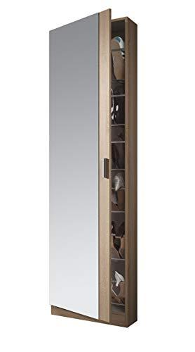 Habitdesign Zola S01 Scarpiera con Specchio, 50x20x180 H cm, Rovere Spazzolato, Melamina, quercia...