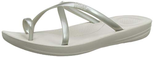 Fitflop Prima Iqushion Cross Slide-Pearlised, Infradito Donna, Argento (Silver 011), 39 EU