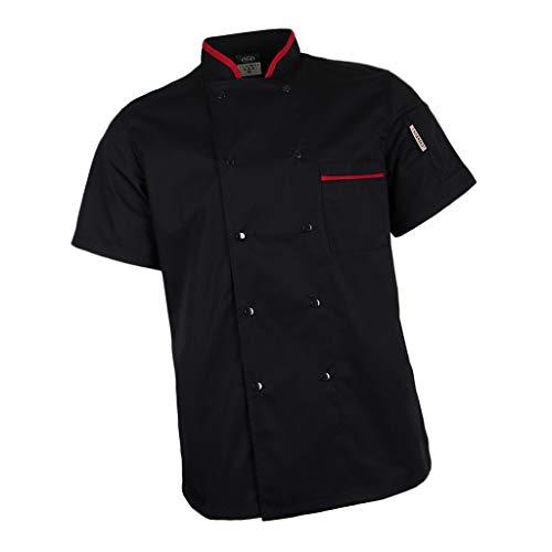 F-Fityle-Atmungsaktive-Kurzarm-Kochjacke-Bckerjacke-mit-verdeckten-Druckknpfen-Berufsbekleidung-Oberteile-Kochhemd-Restaurant-Mantel-Jacke
