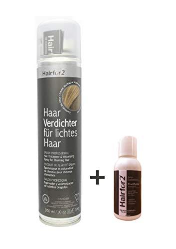 Hairfor2 300ml + GRATIS Hairfor2 SHAMPOO 50ml Haarverdichter Spray Streuhaar Schütthaar Microhairs Hair Fiber (dunkelblond)