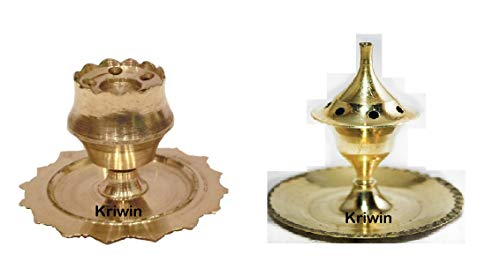 KRIWIN® Set of 2 Brass Agarbatti Stand, Agardaan, Incense Holders Detachable Base with 5 Holes for Agarbattis(Small, Light Weight)(Both)