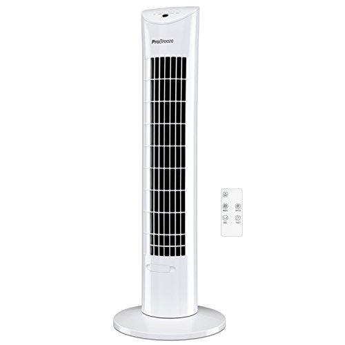 Pro BreezeTM Oszillierender Turmventilator, 79 cm Höhe, 70 Grad Oszillation, Säulenventilator mit 3 Geschwindigkeitsstufen, 60 Watt Ventilator mit Fernbedienung und Timer | Weiß