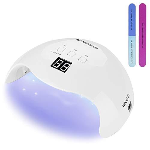 NAVANINO Lámpara Secador de Uñas, LED/UV Gel Esmalte de Uñas Curado Luz Máquina,3 modos de tiempo,99s Modo de calor bajo y Pantalla LED Para Manicura/Pedicure Nail Art en el Hogar ect