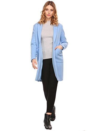 Modfine -  Cappotto - Trench - Basic - Collo a Cascata - Maniche Lunghe - Donna Blu Azzurro