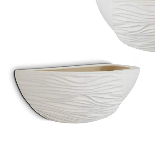 Lampada da parete colore bianco Torgiano attacco E27 in gesso verniciabile