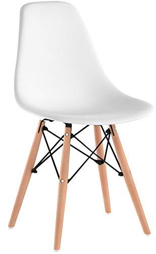KunstDesign Set di 4 Sedie da Pranzo con Seduta in Polipropilene e Gambe in Legno Massello di Faggio, Design Ergonomico (Bianco)