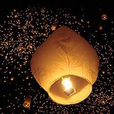 life's better Paper Flying Sky Lantern with Fuel Wax Block Candle (Multicolour, 70 X 50 cm, Pack of 8)