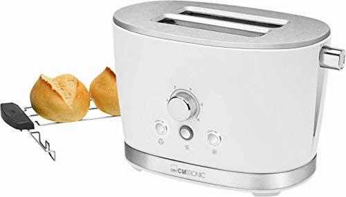 Tostapane bianco con scalda panini in acciaio inox termostato regolabile (Retro, 850 Watt, 2 fessure...