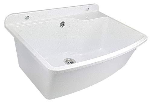 GOSPO Ausgussbecken, Waschbecken 61 cm x 44 cm x 23,5 cm, Waschtrog mit Überlauf und Siphon, Spülbecken inkl. Zubehör, stabiler Kunststoff, Waschraum 38 Liter Fass. (Weiß)