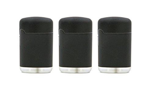 Original EASY TORCH8® Jet outdoor Gas-Sturmfeuerzeug schwarz mit gummierter Oberfläche. 3er Pack.