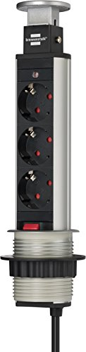 Brennenstuhl Tower Power Tischsteckdosenleiste 3-fach (versenkbare Steckdosenleiste, 2m Kabel, komplett in Tischplatte versenkbar) alu / schwarz