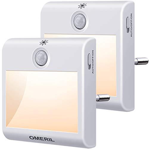 Luce Notturna LED, OMERIL 2 Pezzi Luce Notturna da Presa con Sensore di Movimento, 3 Modalità di...