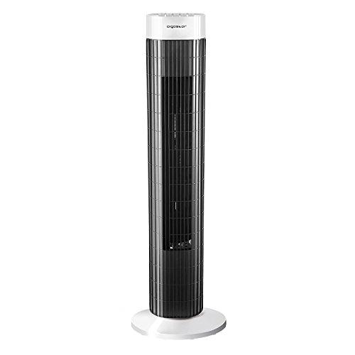 Aigostar 33JTS - Ventilatore a torre digitale con timer. 3 modalità di velocità e motore da 45W. Oscillazione a 85°. Altezza di 76cm e cavo da 1,8M. Color Bianco e Nero