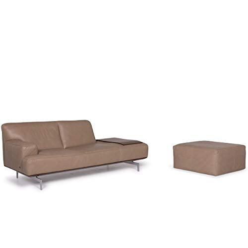 Willi Schillig Black Label Toscaa leather sofa set beige two-seater couch stool