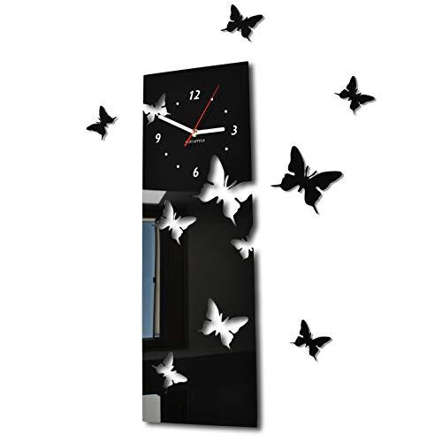 Orologio da parete salotto moderno FARFALLE verticale nero decorativo silenzioso 20 x 60 cm