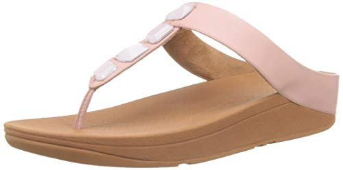 Fitflop Roka Toe-Thong Sandals-Leather, Sandali con Chiusura a T Donna, Rosa (Dusky Pink 535), 42 EU