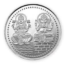 Chandrika Pearls Gems & Jewellers Dhanteras Diwali 999 Silver Coins, 10 gm Laxmi Ganesh Sikka with Box