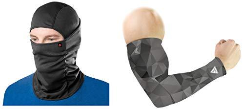 Le Gear Face Mask & Arm Sleeves Combo (Grey & Black)
