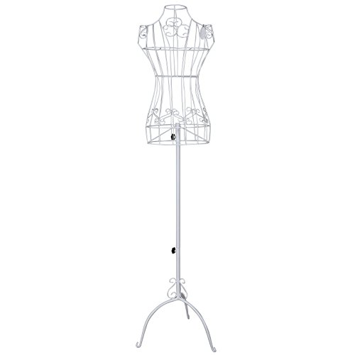 Songmics Schneiderpuppe weiblich Schaufensterpuppe Damenbüste Schneiderbüste aus Metall HRA10W