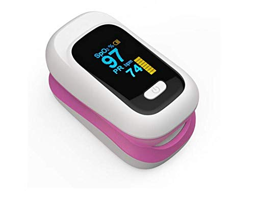 Finger-clamp Pulse Oximeter YK-80X Blood Oxygen Saturation Monitor LED Screen Display O2 Level Portable (Pink, OneSize)