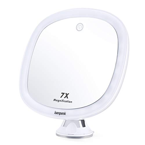 ISENPENK Specchio Illuminato Trucco da Bagno, Specchio 7X Ingradimento a Parete con Potente Ventosa...