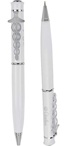 Oculus 1942 White Metallic Ball Pen. Ideal Gift for Doctors/Medico/Nurses. Fitted with Germany Made Refill.