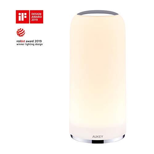 AUKEY Lampada da Comodino con Sensore Touch Lampada da Tavolo con Luce Bianca Calda Dimmerabile Luce...