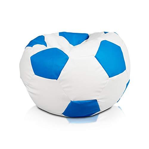 Ecopuf Football M - Pouf Poltrona Sacco Pallone Palla da Calcio Puff in Ecopelle 65 X 45 Doppie Cuciture Rinforzate PUF Imbottito con Perle di POLISTIROLO Colore Celeste E19