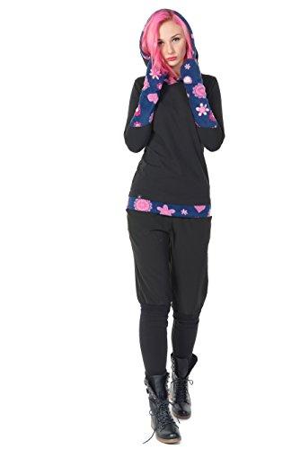 Winter Kapuzenpullover Hoodie Damen schwarz Herbst Kleidung Daumenloch Mode 3 Elfen Kapuzenpulli Frauen schwarz pink Lady XS - 4