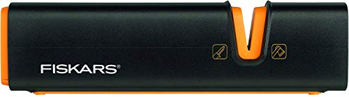 Fiskars Afilador de cerámica para hachas y cuchillos, Negro/Naranja, 1000601