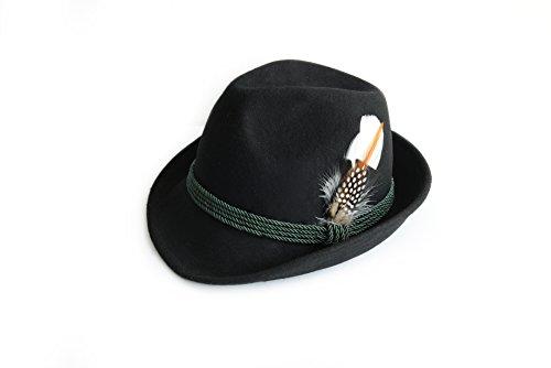 Trachtenhut aus 100% Wolle mit echter Feder, Farbe schwarz Gr. 55