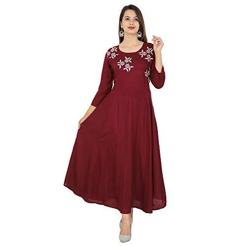 Cottonwalas Women's Rayon Embroidered Ankle Length Anarkali Kurti (Maroon, Medium)