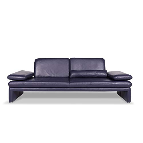 Willi Schillig Leather sofa Purple three-seater couch