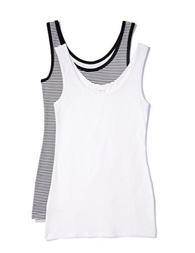 Iris & Lilly Camiseta de Tirantes de Algodón para Mujer, Pack de 2, 1 x Blanco & 1 x Rayas Blancas y Negras, X-Large