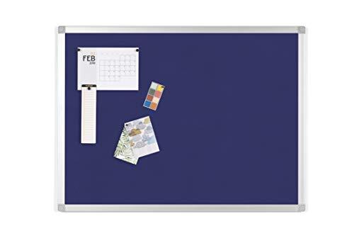BoardsPlus - Lavagna In Feltro Blu, 120 x 90 cm, Bacheca Con Cornice In Alluminio, Superficie Di...