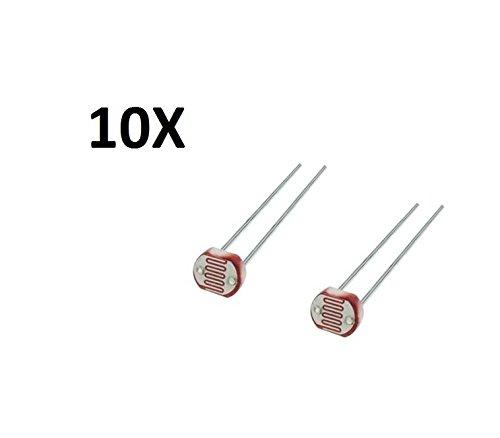 10X FOTORESISTENZA MODELLO GL5528 LDR 5mm Resistenza a 10 lux: min 8Kohm, max 20Kohm Resistenza al buio: min 1Mohm Fattore gamma (100/10 lux): 0.6 tip. Tempo di risposta: 20ms salita, 30ms discesa Lunghezza d'onda di max sensibilità: 540nm Te...