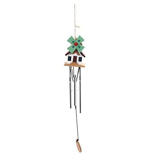 Hatime - Carillón de Viento Hecho a Mano de Cobre con diseño de Cabina de Troncos de Metal para Exteriores y Jardines (A)