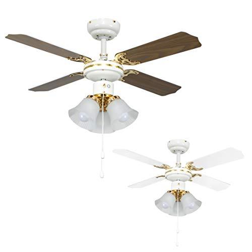 MiniSun - Ventilatore moderno da soffitto 'Imperial' - 3 luci e pale reversibili (bianco/legno) -...