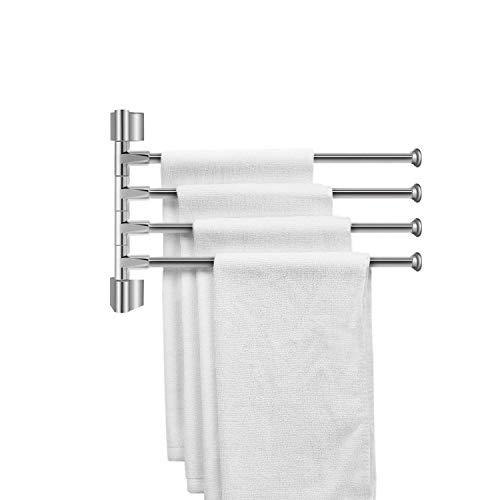 Plantex Stainless Steel 4-Arm Bathroom Swing Hanger Towel Rack/Holder for Bathroom/Towel Stand/Bathroom Accessories