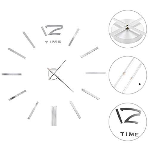 FAMIROSA Orologio da Parete 3D in Stile Moderno 100cm XXL Argento