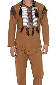 Smiffys-45509XL Disfraz de Guerrero Inspirado por los Americanos nativos, con Chaleco,p, Color marrón, XL-Tamaño 46