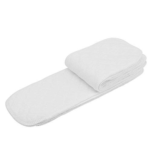 10pz Pannolini di stoffa, pannolini di cotone assorbente riutilizzabili, adatto ai neonati ai bambini piccoli, inserire 3 strati/inserire 6 strati(A)