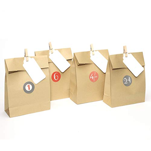 Casparo Eco Design 24 Bolsas de Papel Kraft marrón Bolsa para Regalos con Tarjetas y Pinzas de Madera Ideal para Bodas, cumpleaños o Fiestas de Navidad   Papel para Envolver los favores o Dulces