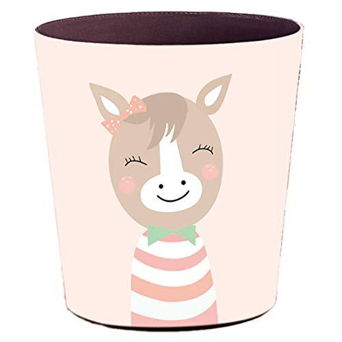 ZUJI Papierkörbe, 10L Papierkorb Kinder Mülleimer Wasserdicht Leder Mülleimer Dekorativ für Kinderzimmer Büro Wohnzimmer (Muster 4)