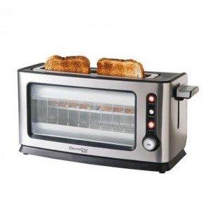 Domoclip Premium DOD106 Toaster mit Sichtfenster, gebürstetes Aluminium, 40,3x15x20cm