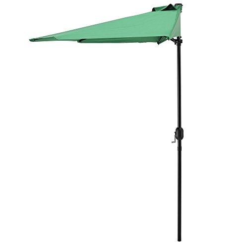 [casa.pro]®] Sonnenschirm mit Kurbel grün halbrund Ø300cm groß Balkon Garten