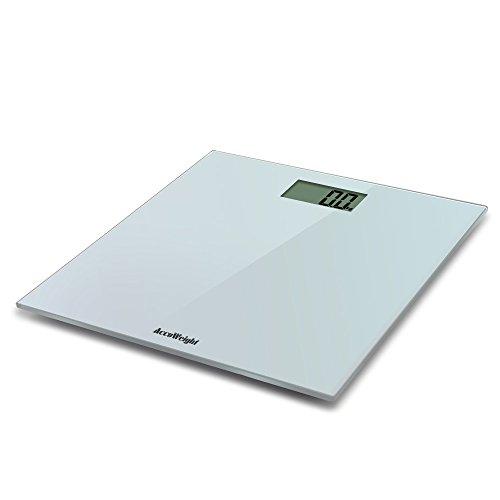 Accuweight Báscula de Baño Digital de Alta Medición Precisa 180 kg, Balanza Digital Baño, Extraplano, de silver Vidrio