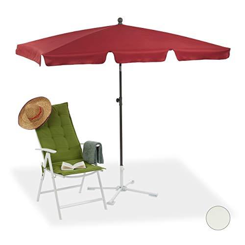 Relaxdays Strandschirm, höhenverstellbarer Gartenschirm m. Kippfunktion, Bordeaux Sonnenschirm rechteckig, 200 x 120 cm